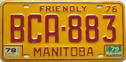 1979 Manitoba  (Single) license plate for sale