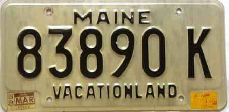 1988 Maine  (Single) license plate for sale