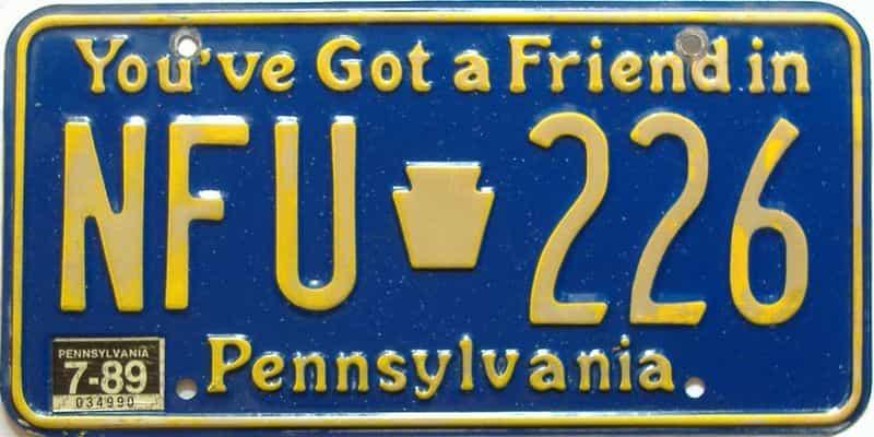 1989 Pennsylvania license plate for sale