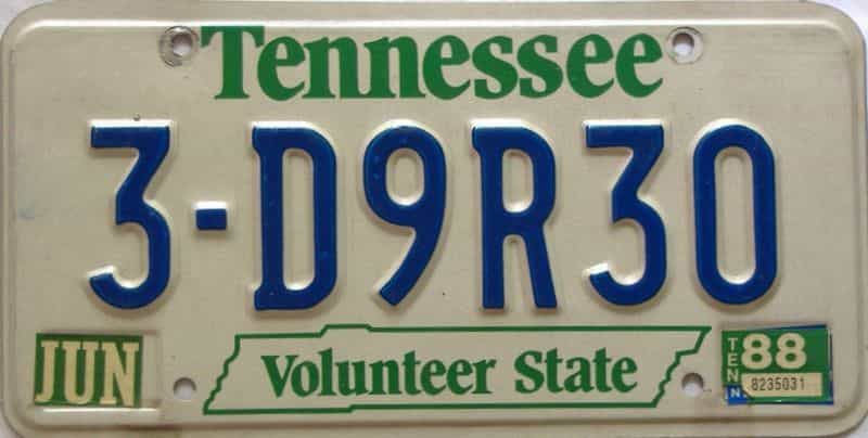 1988 Tennessee license plate for sale