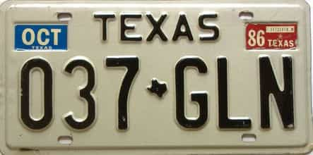 1986 Texas  (Single) license plate for sale