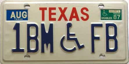 1987 Texas  (Handicap) license plate for sale
