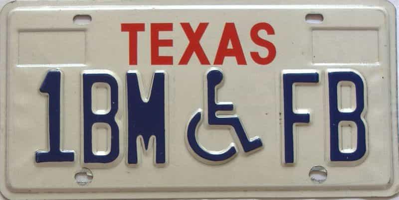 Texas  (Handicap) license plate for sale