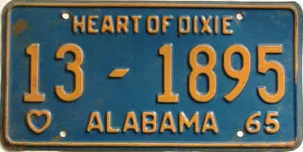 1965 Alabama license plate for sale