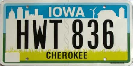 Iowa  (Single) license plate for sale