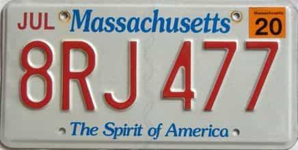 2020 Massachusetts  (Single) license plate for sale