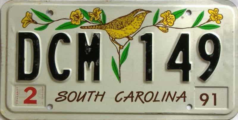 1991 South Carolina license plate for sale