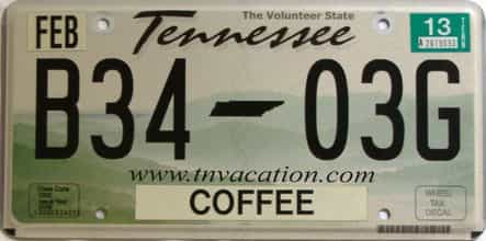 2013 Tennessee license plate for sale