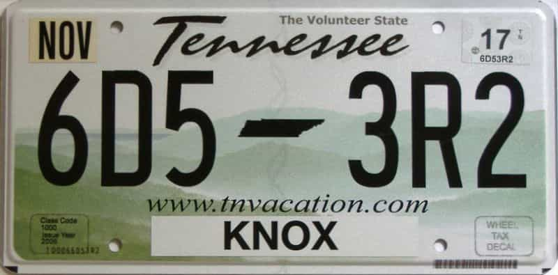 2017 Tennessee license plate for sale
