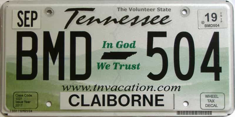2019 Tennessee license plate for sale