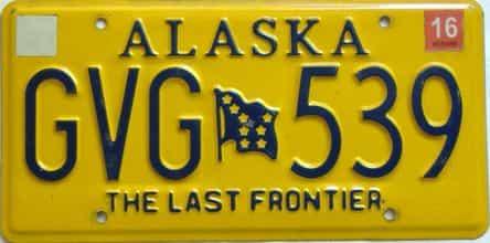 2016 Alaska  (Single) license plate for sale