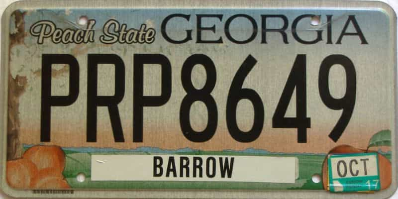 2017 Georgia Counties (Barrow) license plate for sale