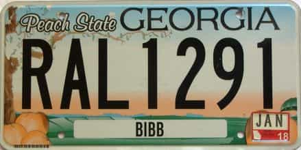 2018 Georgia Counties (Bibb) license plate for sale