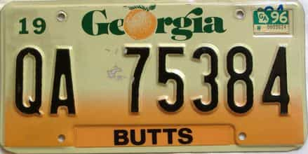 1996 Georgia Counties (Butts) license plate for sale