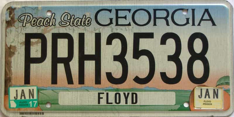 2017 Georgia Counties (Floyd) license plate for sale