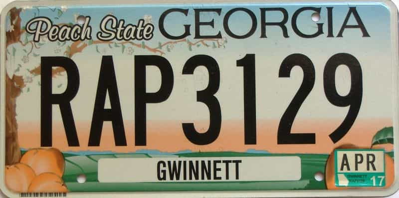 2017 Georgia Counties (Gwinnett) license plate for sale