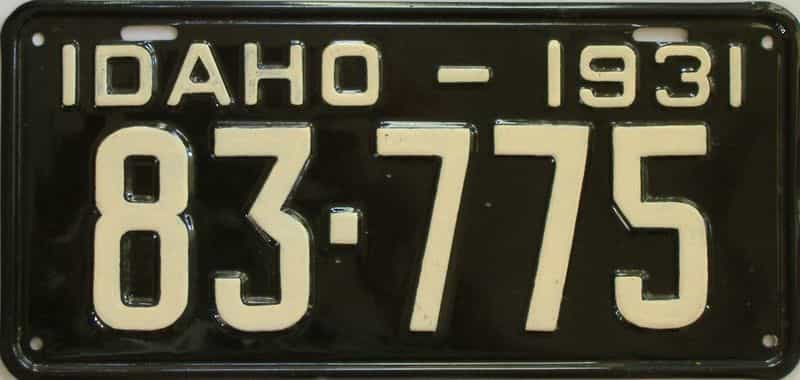 1931 ID (Older Repaint) license plate for sale