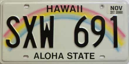 2017 Hawaii  (Single) license plate for sale