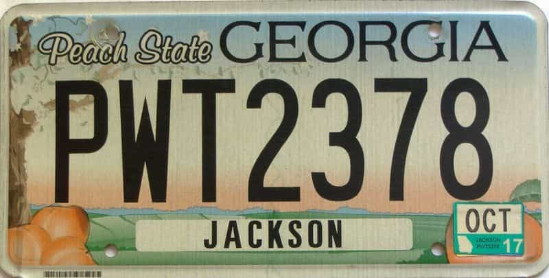 2017 Georgia Counties (Jackson) license plate for sale