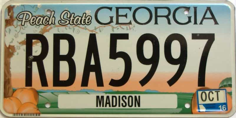 2016 Georgia Counties (Madison) license plate for sale