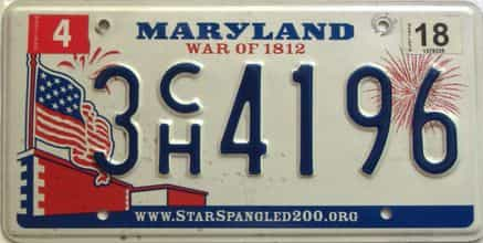 2018 Maryland  (Single) license plate for sale