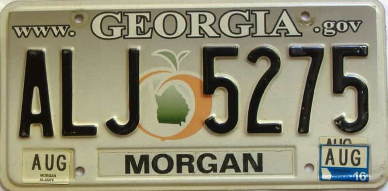 2016 Georgia Counties (Morgan) license plate for sale
