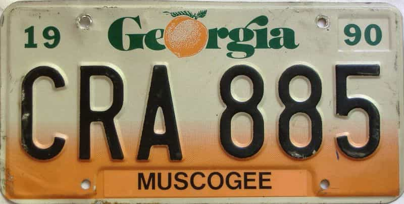 1990 Georgia Counties (Muscogee) license plate for sale