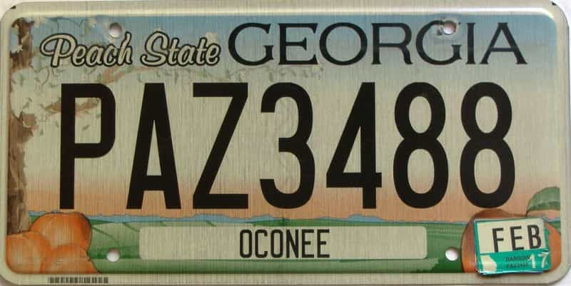2017 Georgia Counties (Oconee) license plate for sale