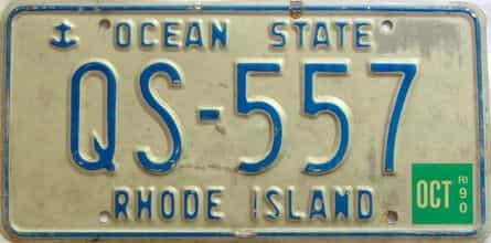 1990 Rhode Island  (Single) license plate for sale