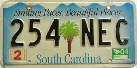 2004 South Carolina license plate for sale