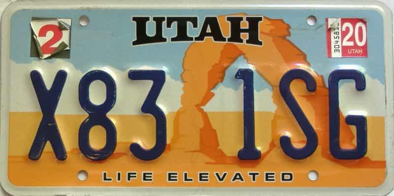 2020 Utah  (Single) license plate for sale