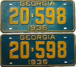 YOM 1936 Georgia  (Pair) license plate for sale