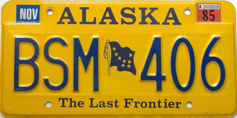 1985 Alaska  (Single) license plate for sale