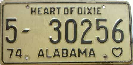 1974 Alabama license plate for sale