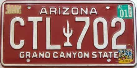 2001 Arizona license plate for sale