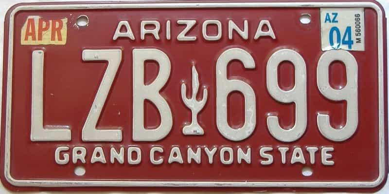 2004 Arizona license plate for sale