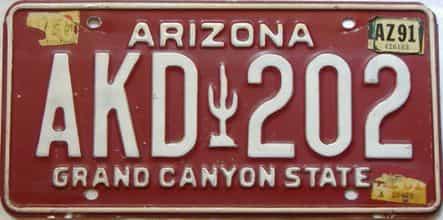 1991 Arizona license plate for sale