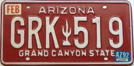 1992 Arizona license plate for sale
