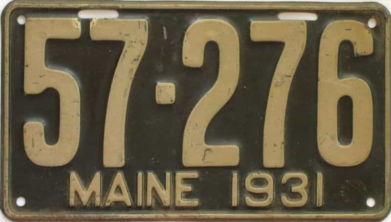 1931 Maine (Single) license plate for sale