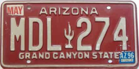 1996 Arizona license plate for sale