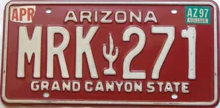 1997 Arizona license plate for sale