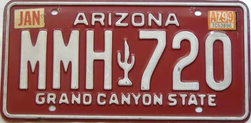1999 Arizona license plate for sale