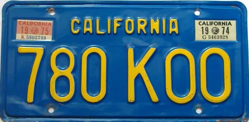 1975 California  (Single) license plate for sale
