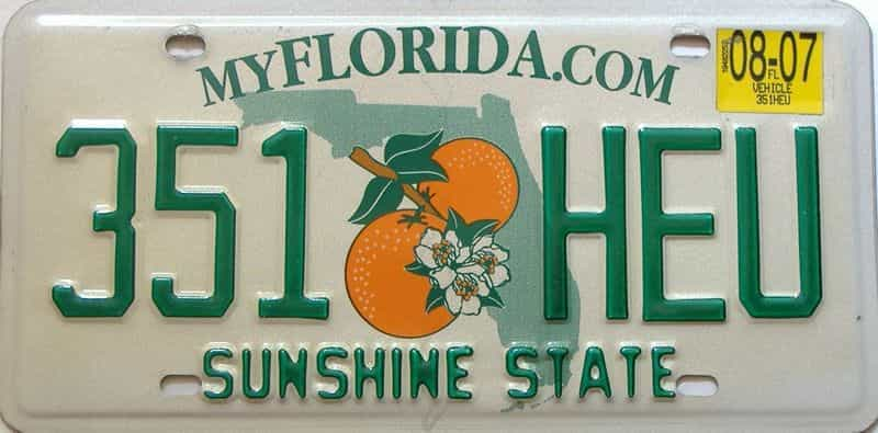 2007 Florida license plate for sale