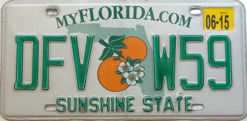 2015 Florida license plate for sale