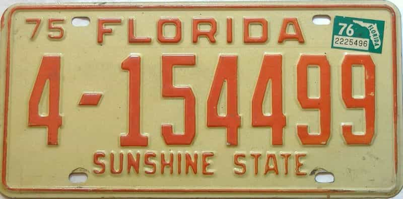 1976 Florida license plate for sale