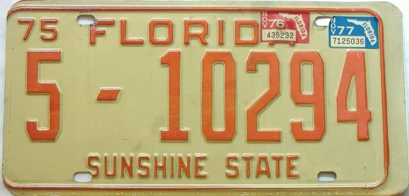 1977 Florida license plate for sale