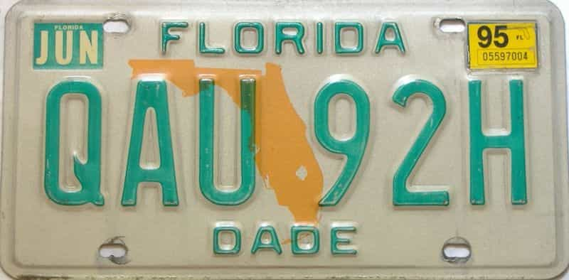 1995 Florida license plate for sale
