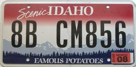 2012 Idaho  (Single) license plate for sale