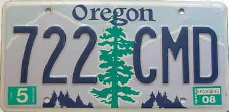 2008 Oregon  (Single) license plate for sale